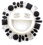 Chanel Cc Smile Sun Crystals Silver Hardware Brooch Pin Charm