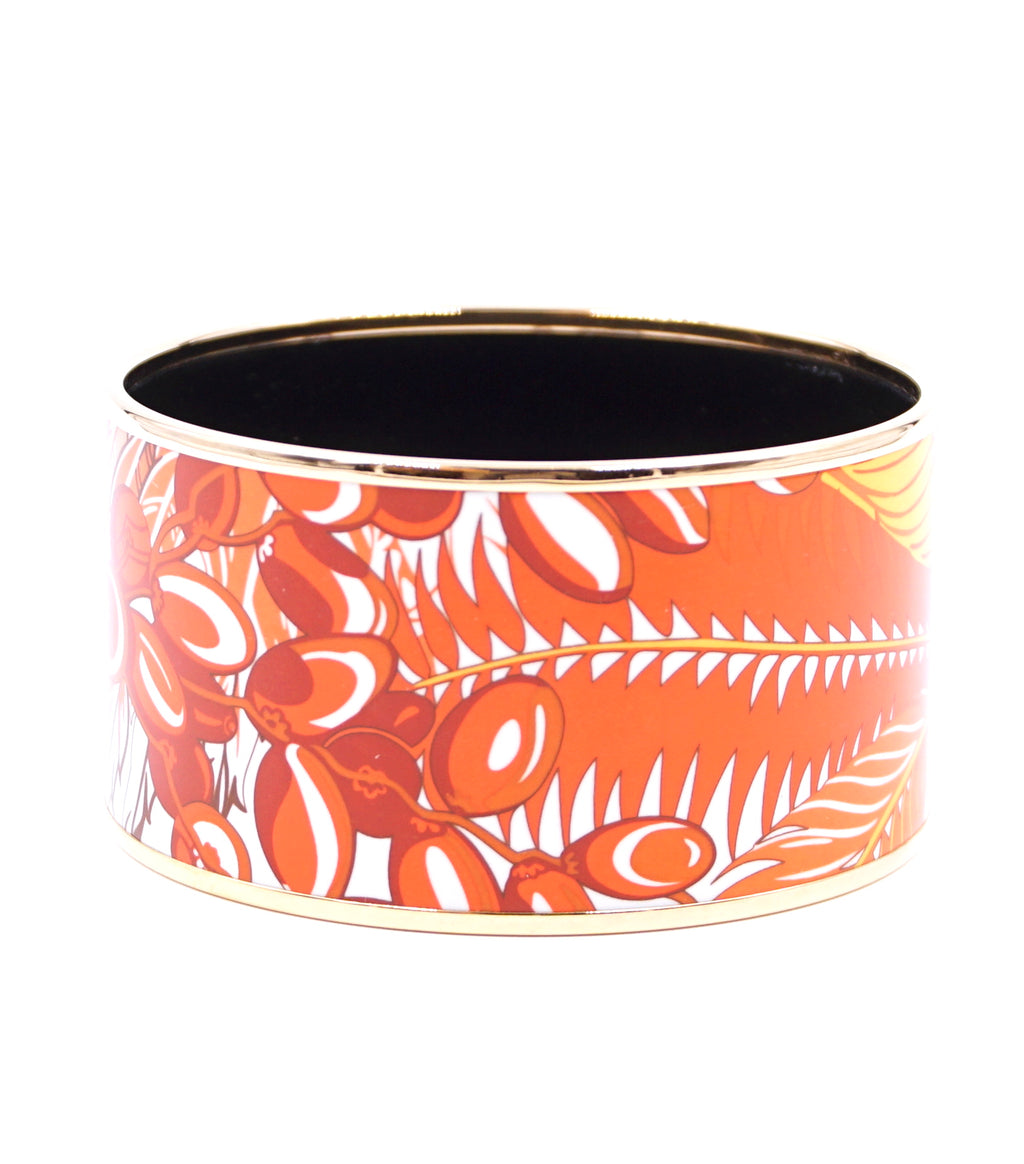 Hermès Orange Gold Enamel Plated Wide Bangle