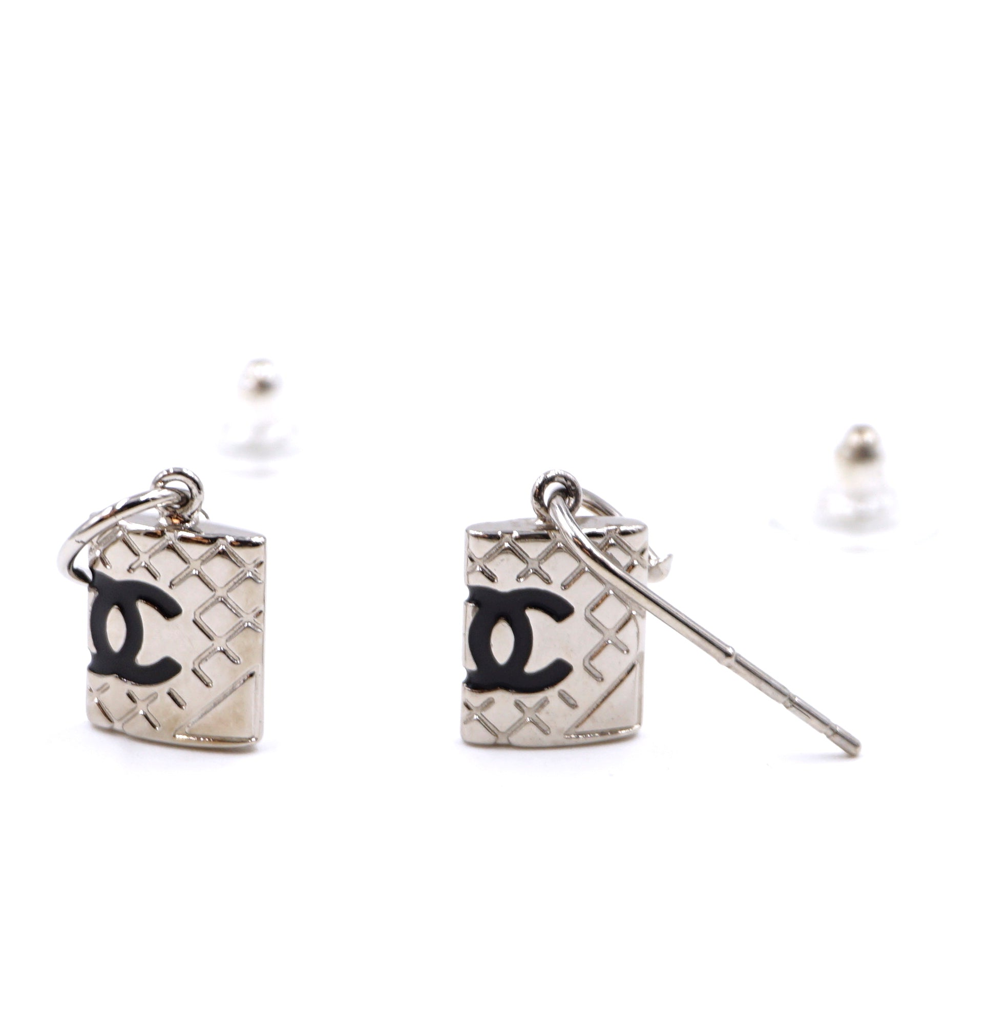 Chanel Black Silver Cambon CC Drop Dangle Earrings