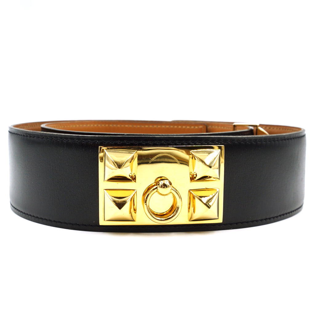 Hermès Black On Natural Gold CDC Stud Leather Belt Size 75