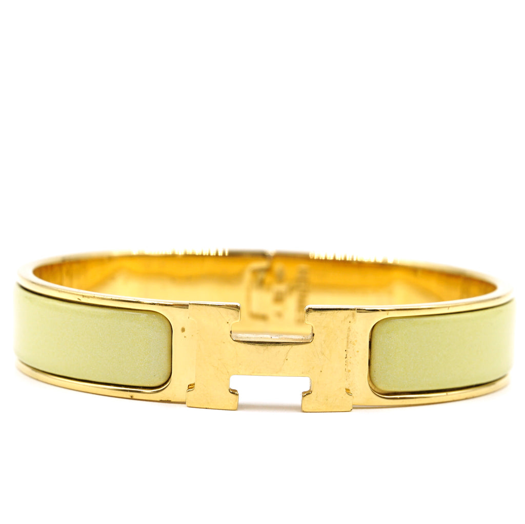 Hermès Gold Lime Enamel H Clic Clac PM Bangle