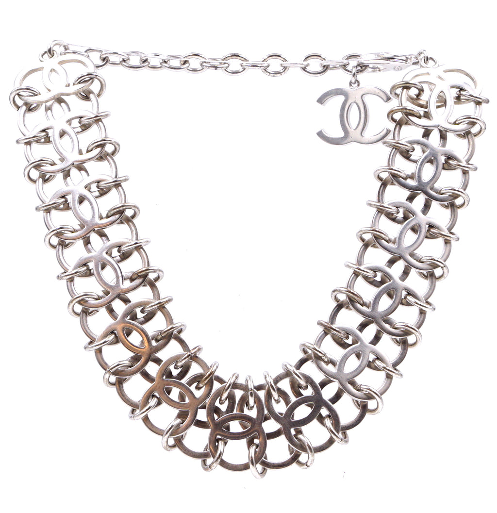 Chanel Silver Multi Interlocking Rings Charm Chain Necklace