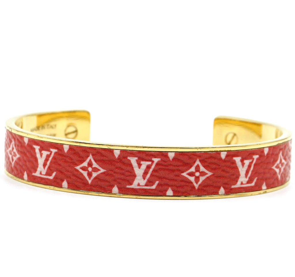 Louis Vuitton Gold Red Monogram Bangle Cuff Size TGS