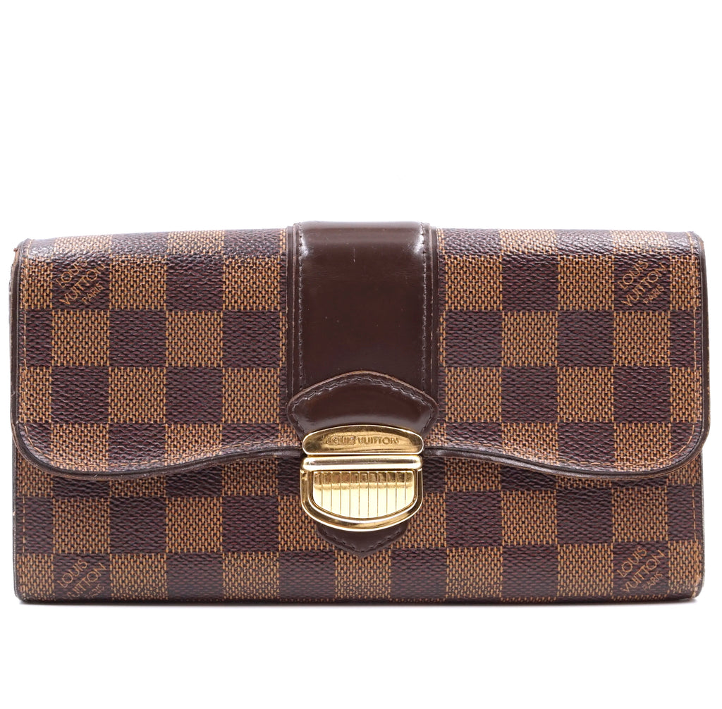 Louis Vuitton Damier Ebene Sistina Long Zipper Slide Lock Wallet