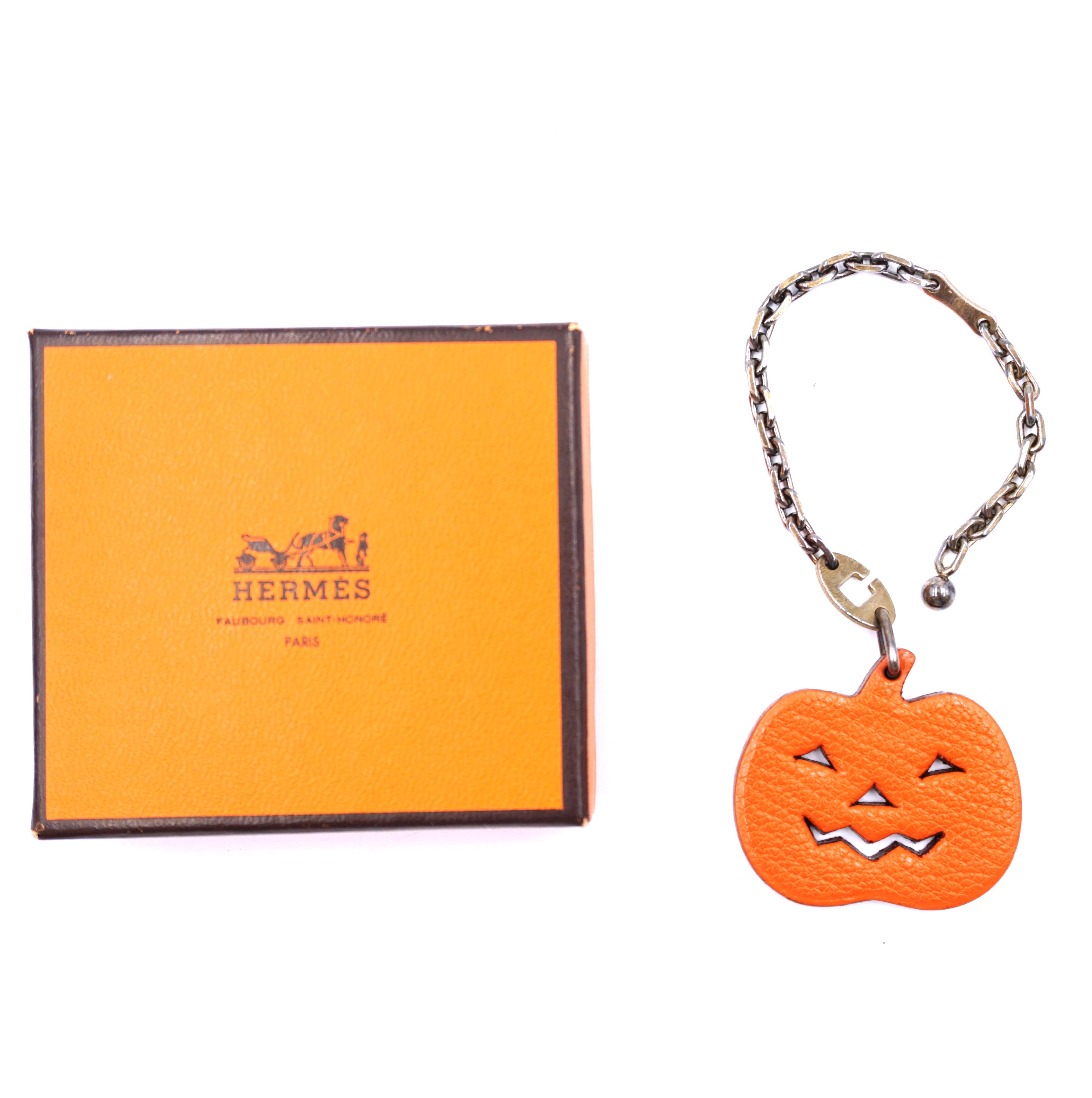 Hermès Orange Halloween Pumpkin Chain For Charm