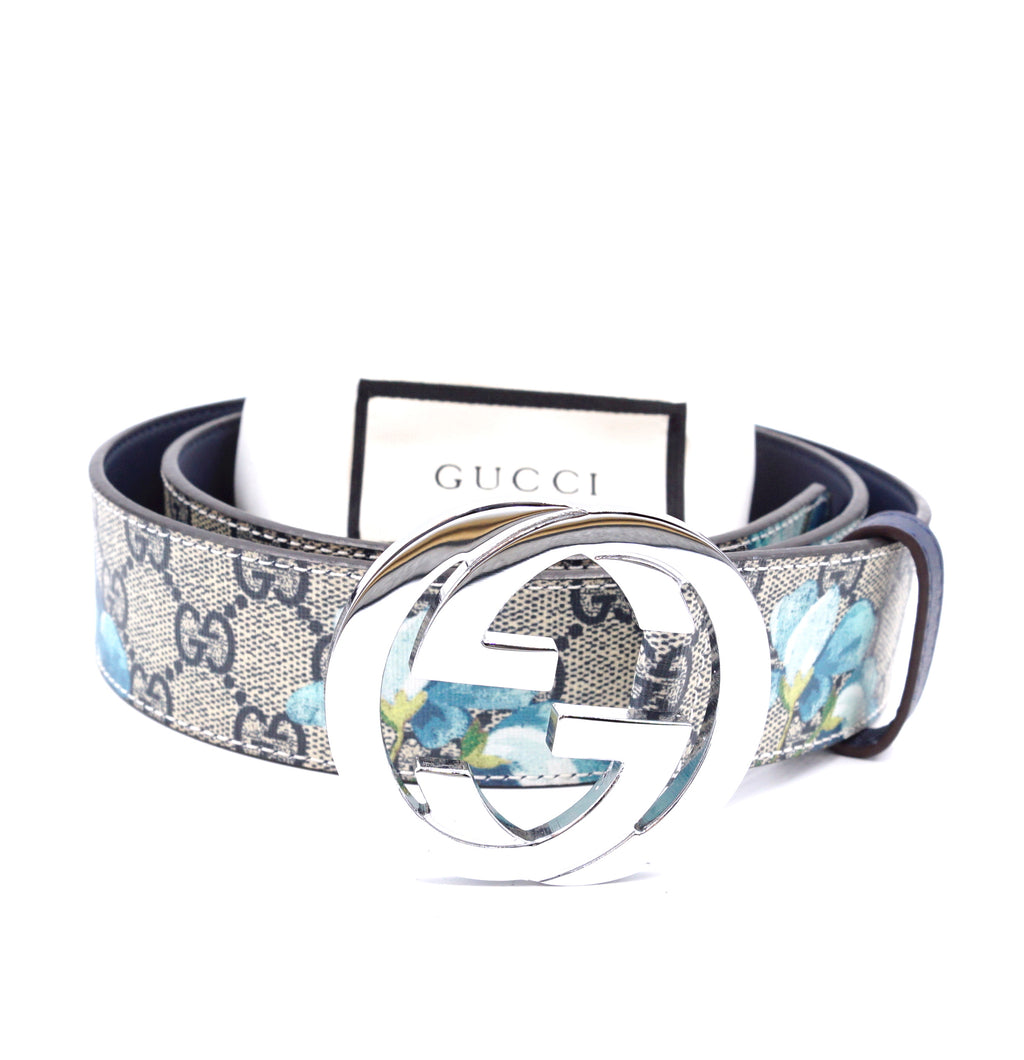 Gucci Blooms Silver GG Buckle Leather Belt Size 90/36