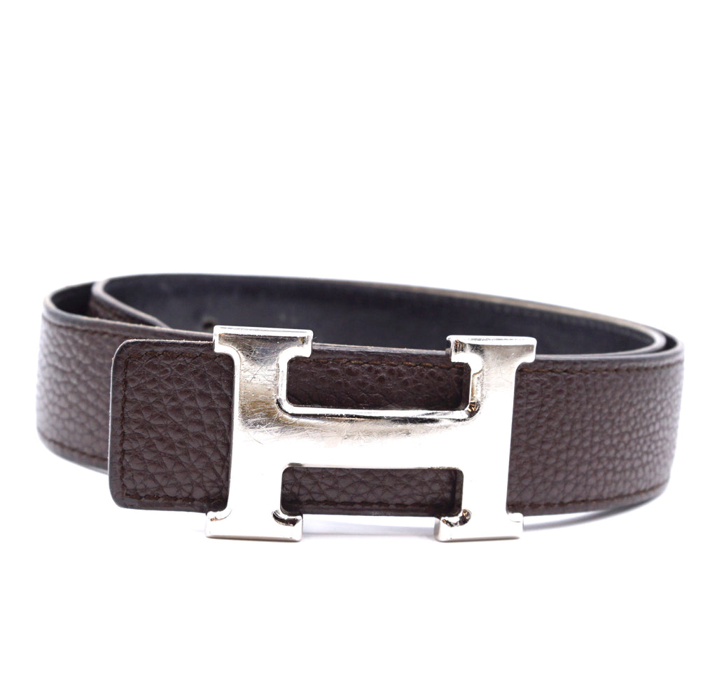 Hermès 32mm Brushed Silver H Reversible Leather Belt Size 75