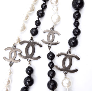 Chanel Black White Cream CC Beads Pearls Long Necklace