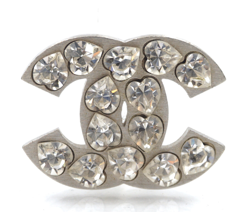 Chanel Silver CC Heart Crystals Brooch