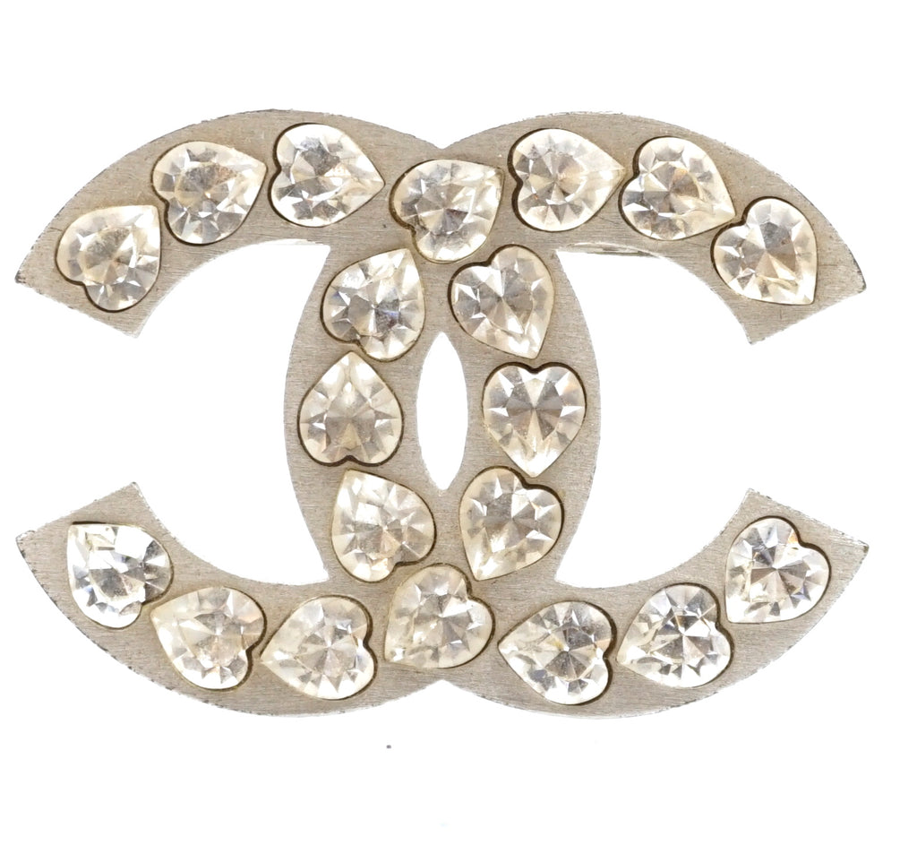 Chanel Silver Large CC Heart Crystals Brooch