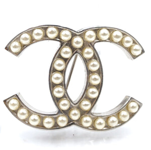 Chanel Silver Pearls Timeless CC Brooch