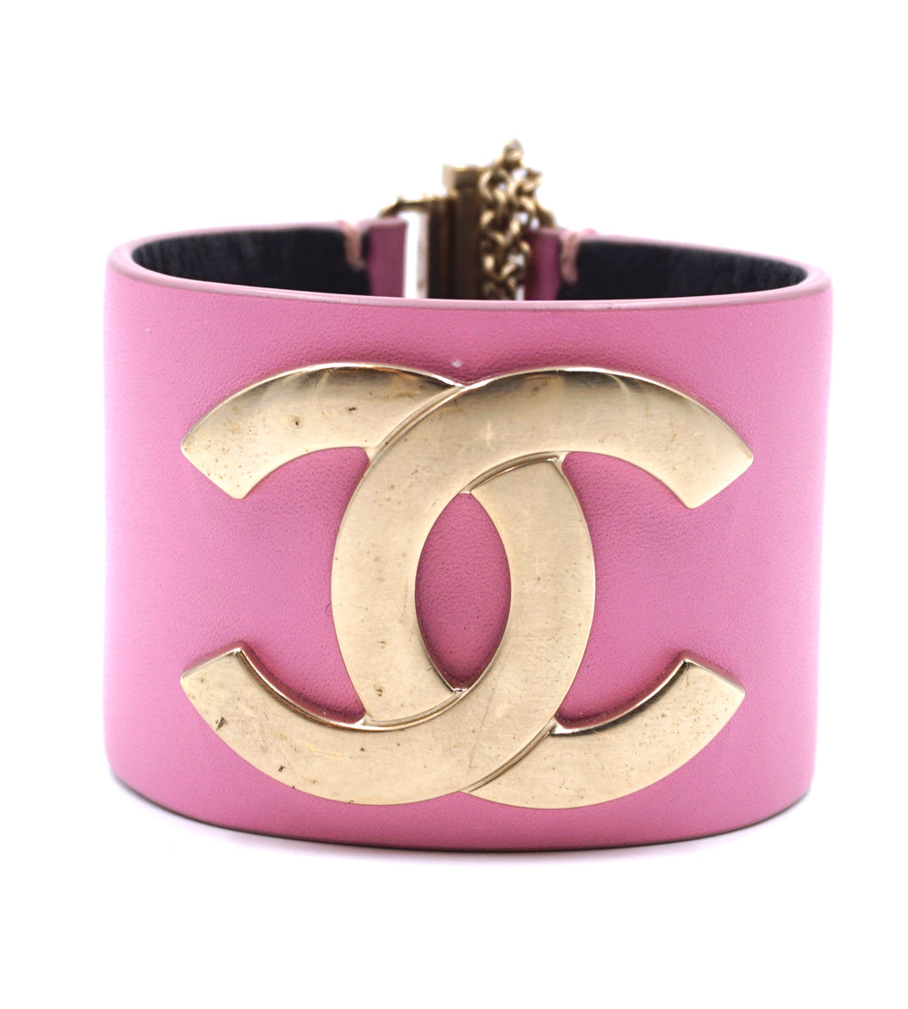 Chanel Gold Pink Leather Wide CC Glide Lock Bangle