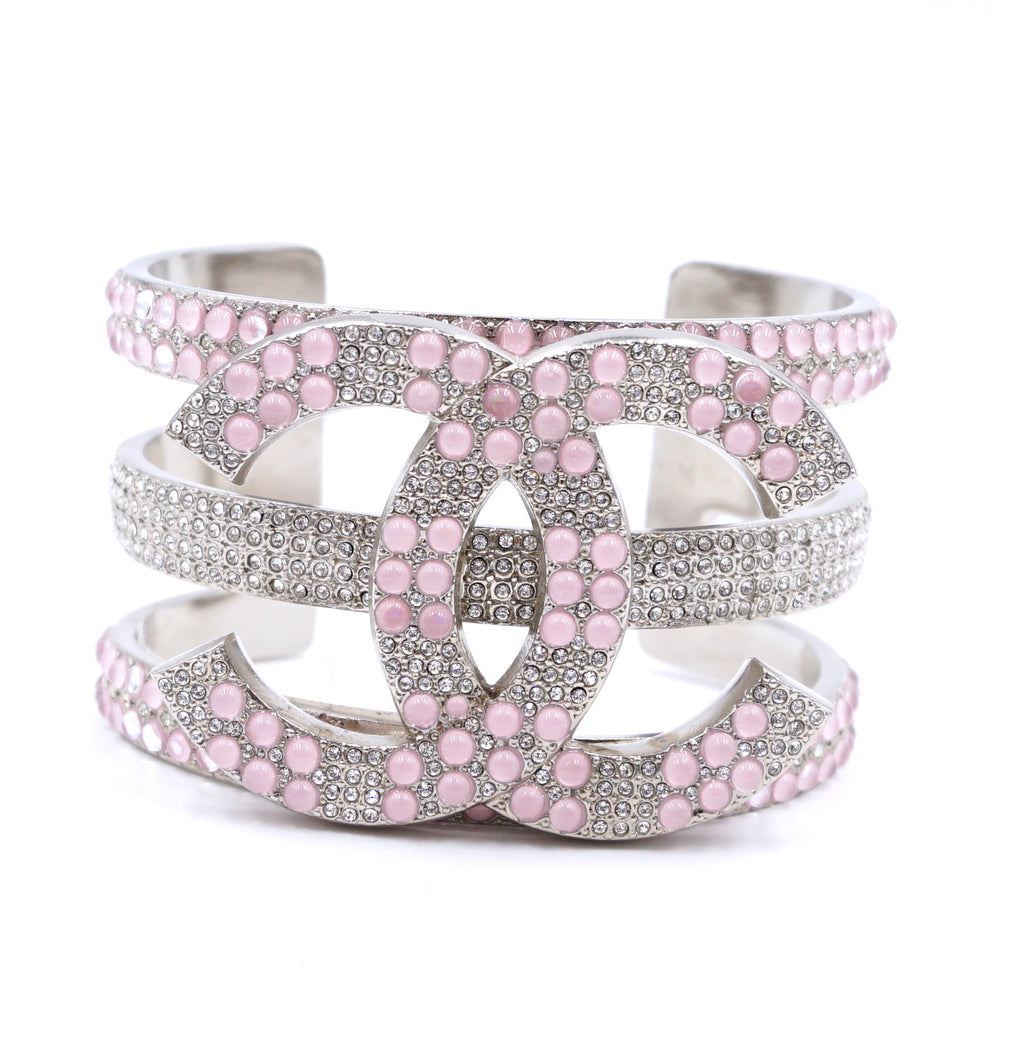 Chanel Silver Pink CC Extra Wide Beads Crystals Cuff
