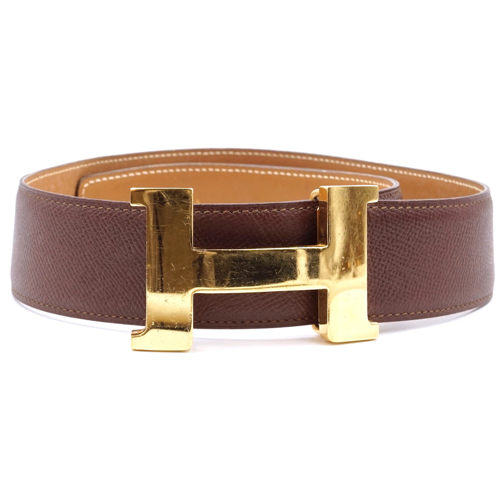 Hermès 42mm Classic H Reversible Leather Belt Size 75