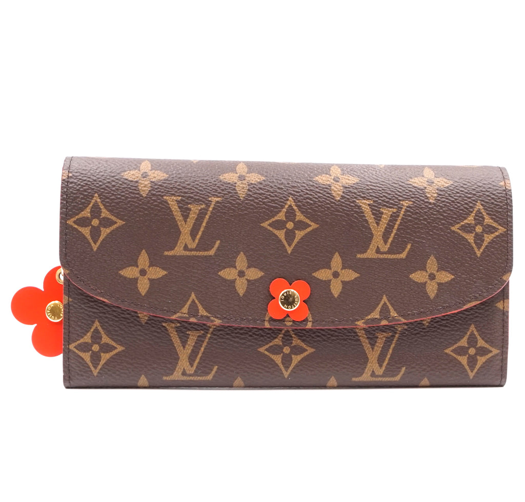 Louis Vuitton Flowers Long Flap Emilie Monogram Wallet