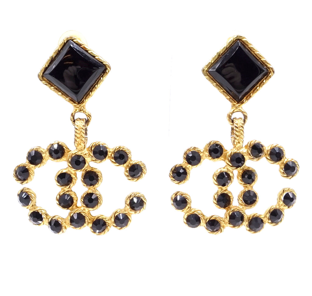 Chanel Gold Black CC Crystals Clip On Earrings