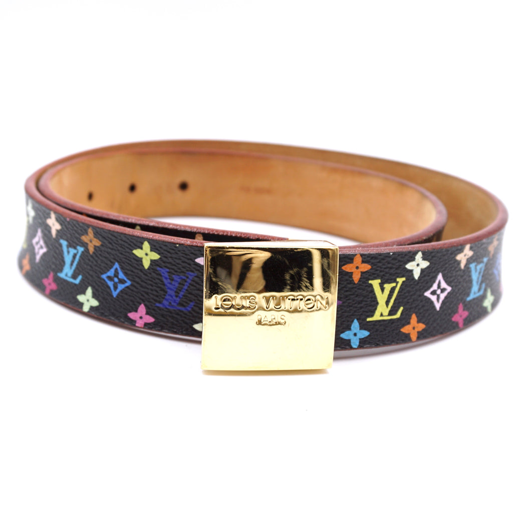 Louis Vuitton Black Multicolore Leather Belt Size 80/32