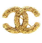 Chanel CC Textured Gold Hardware Brooch
