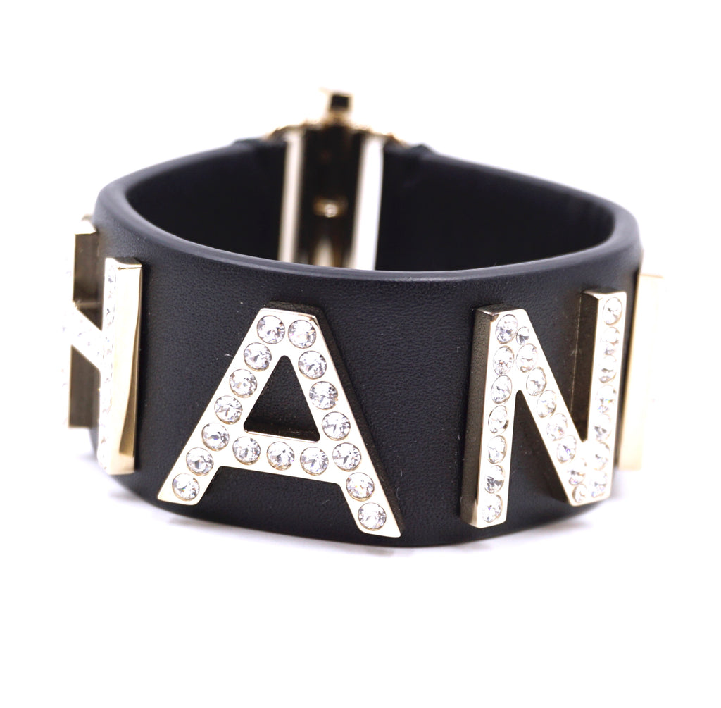 Chanel Black Wide Spell Out Logo Cuff Bangle