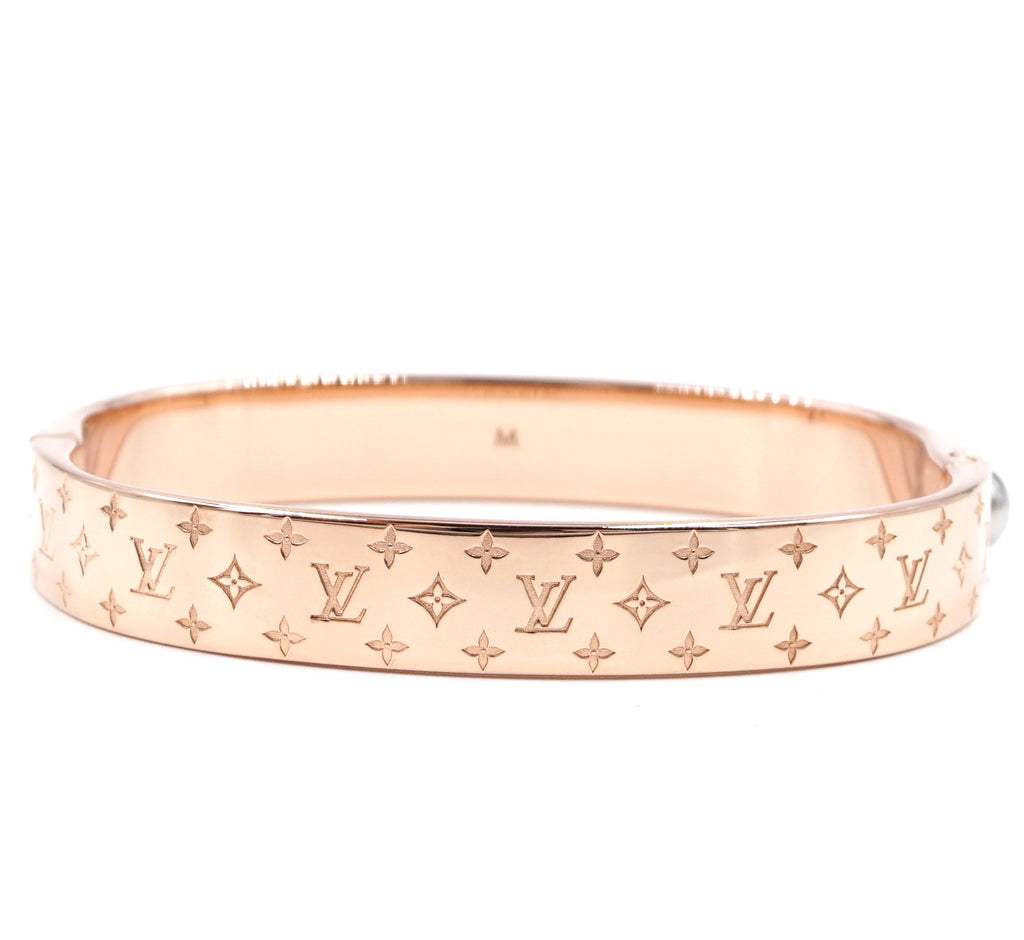 Louis Vuitton Monogram Nanogram Rose Gold Hardware Bangle Size M
