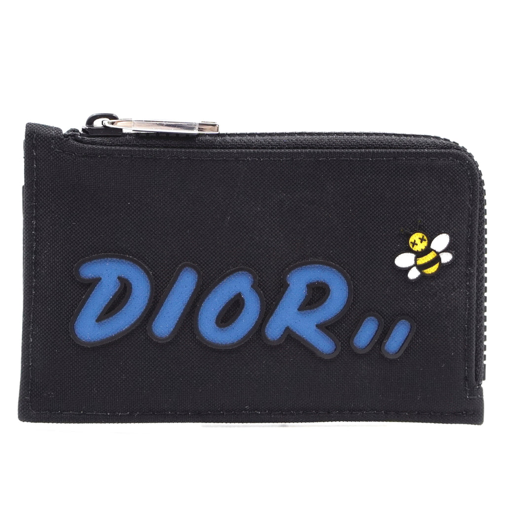 Dior X Kaws Black Bees Small Zip Around Organizer Wallet