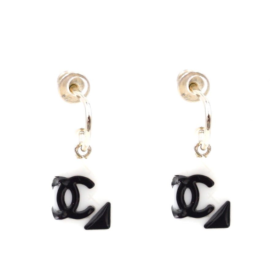 Chanel Black White Cambon CC Drop Dangle Earrings