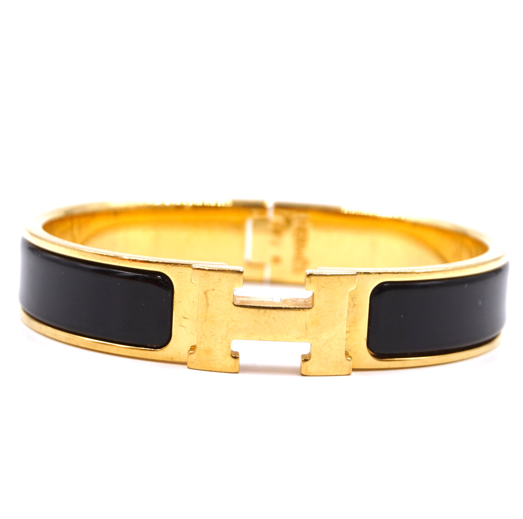Hermès Gold Black Enamel H Clic Clac PM Bangle