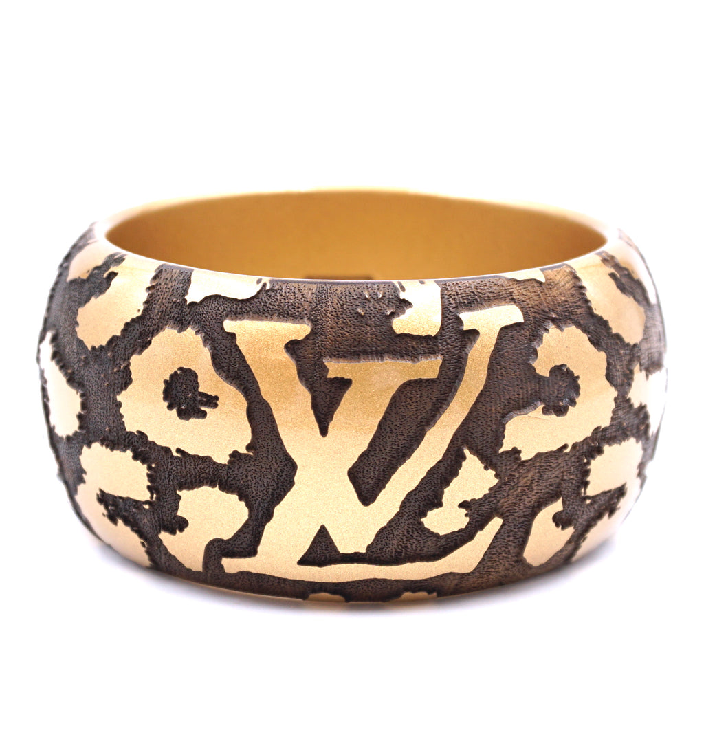 Louis Vuitton Gold Extra Wide Animal Print Leopard Cuff Bangle