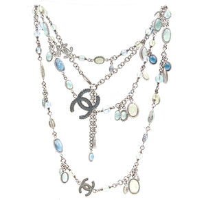 Chanel Silver Multicolor CC Glass Gripoix Bead Necklace