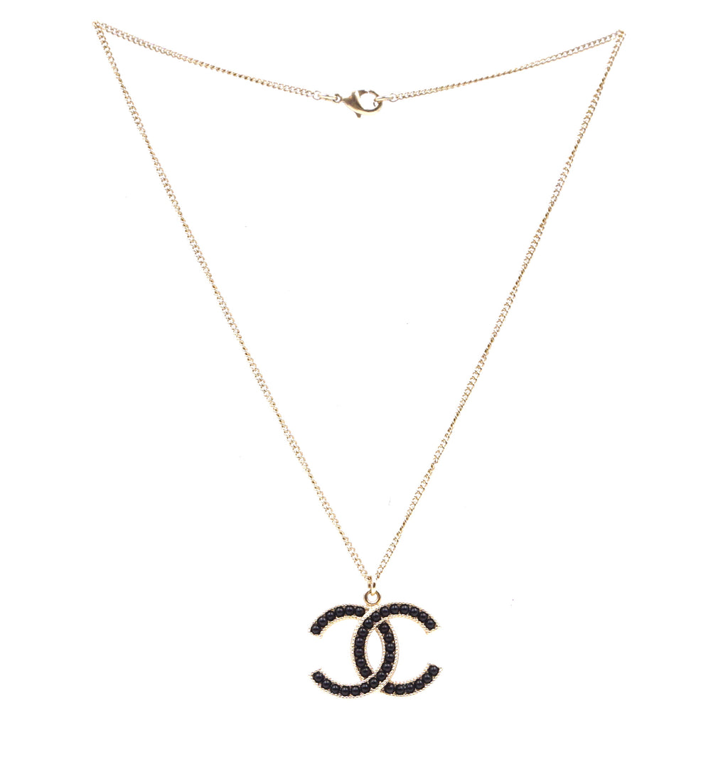 Chanel Cc Pearl Beads Chain Large Gold Black Necklace