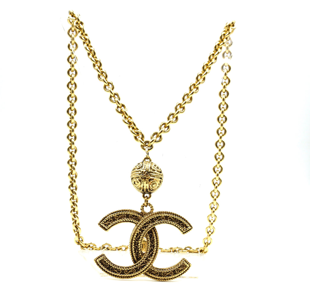 Chanel Gold CC Jumbo Long Chain Necklace