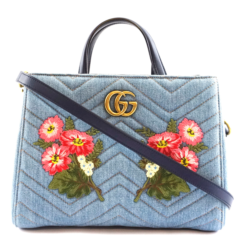 Gucci Marmont GG Embroidered Matelasse Blue Denim