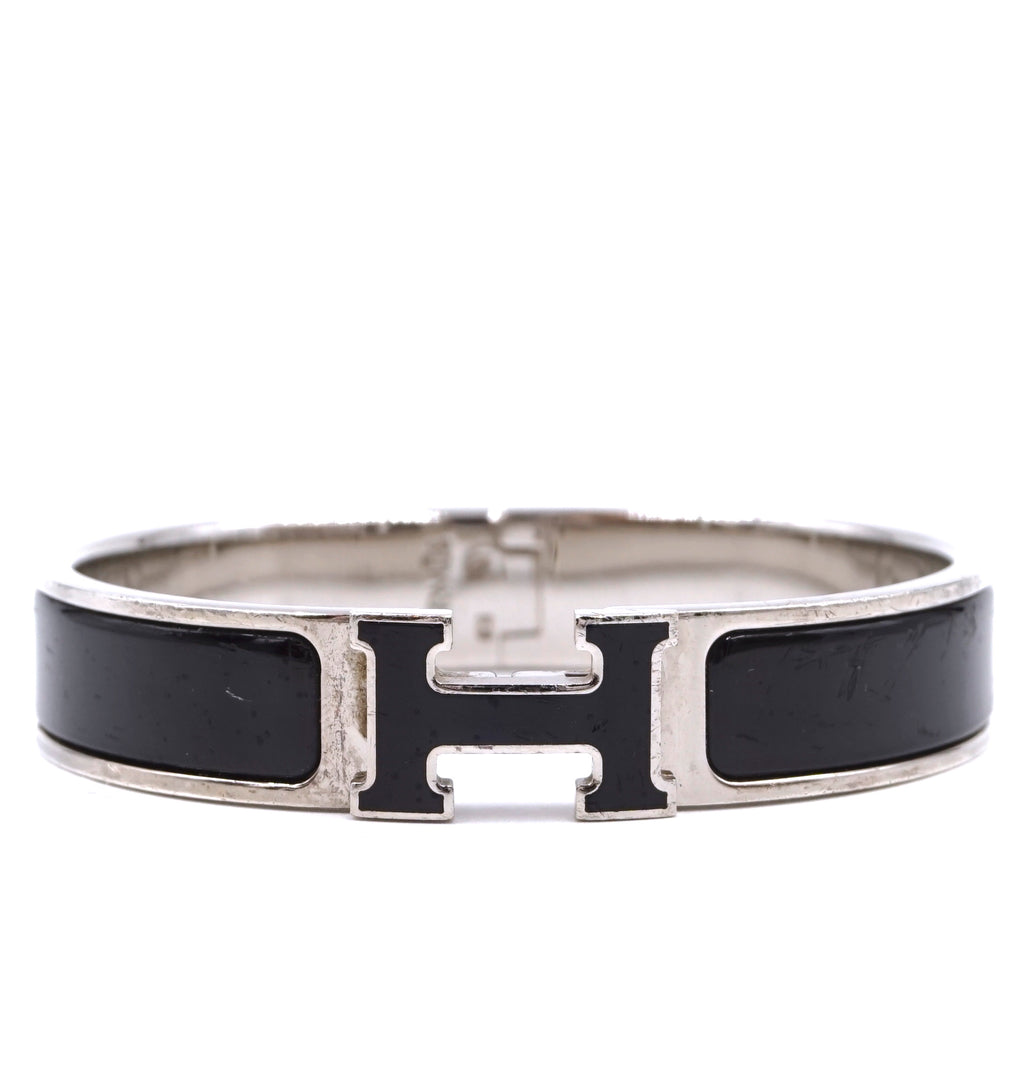Hermès Silver Black Enamel H Clic Clac PM Bangle
