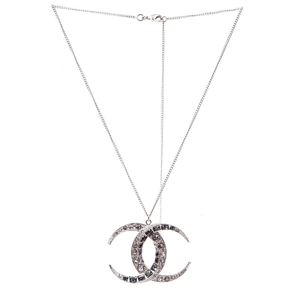 Chanel Silver CC Dubai Moon Crystal Necklace