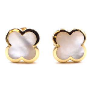 Van Cleef & Arpels 18k Yellow Gold Mother Of Pearl Pure Alhambra Earrings
