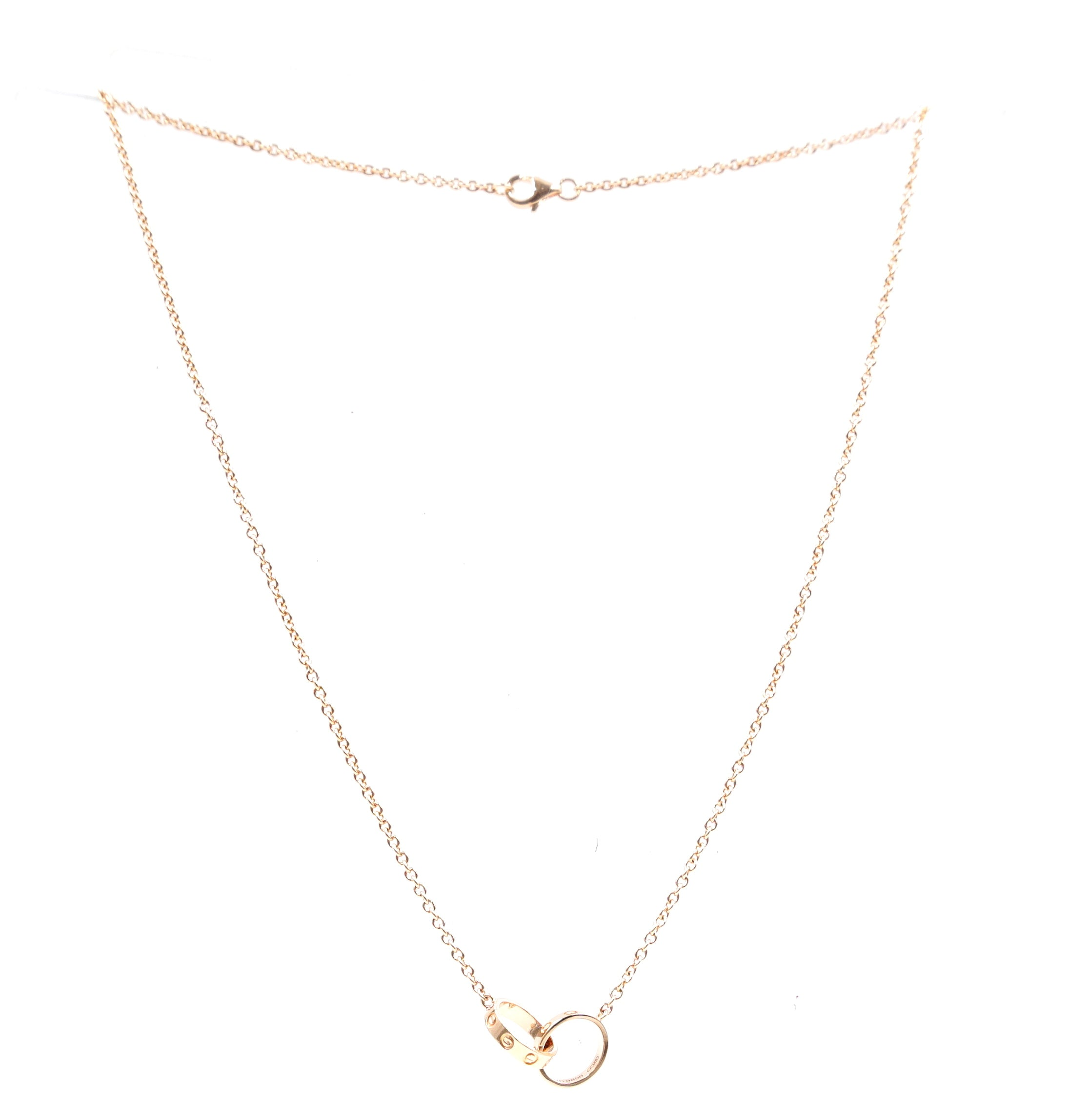 Cartier Rose Gold 18K Love Double Mini Ring Charms Necklace