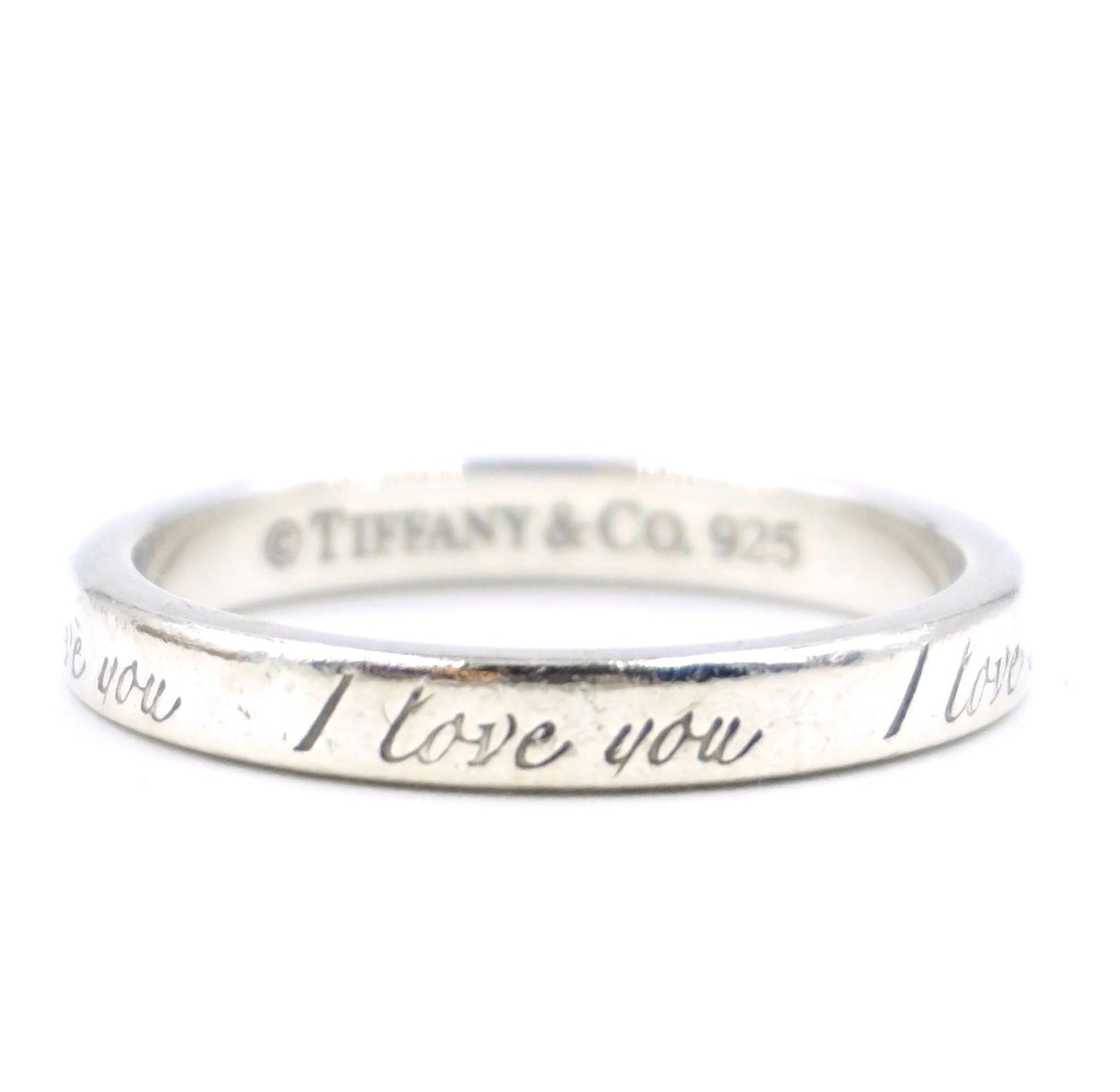 Tiffany & Co. Silver 925 Sterling Love You Ring Size 7.25
