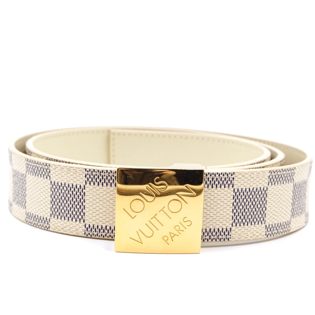 Louis Vuitton Damier Azur Gold Buckle Leather Belt Size 90/36