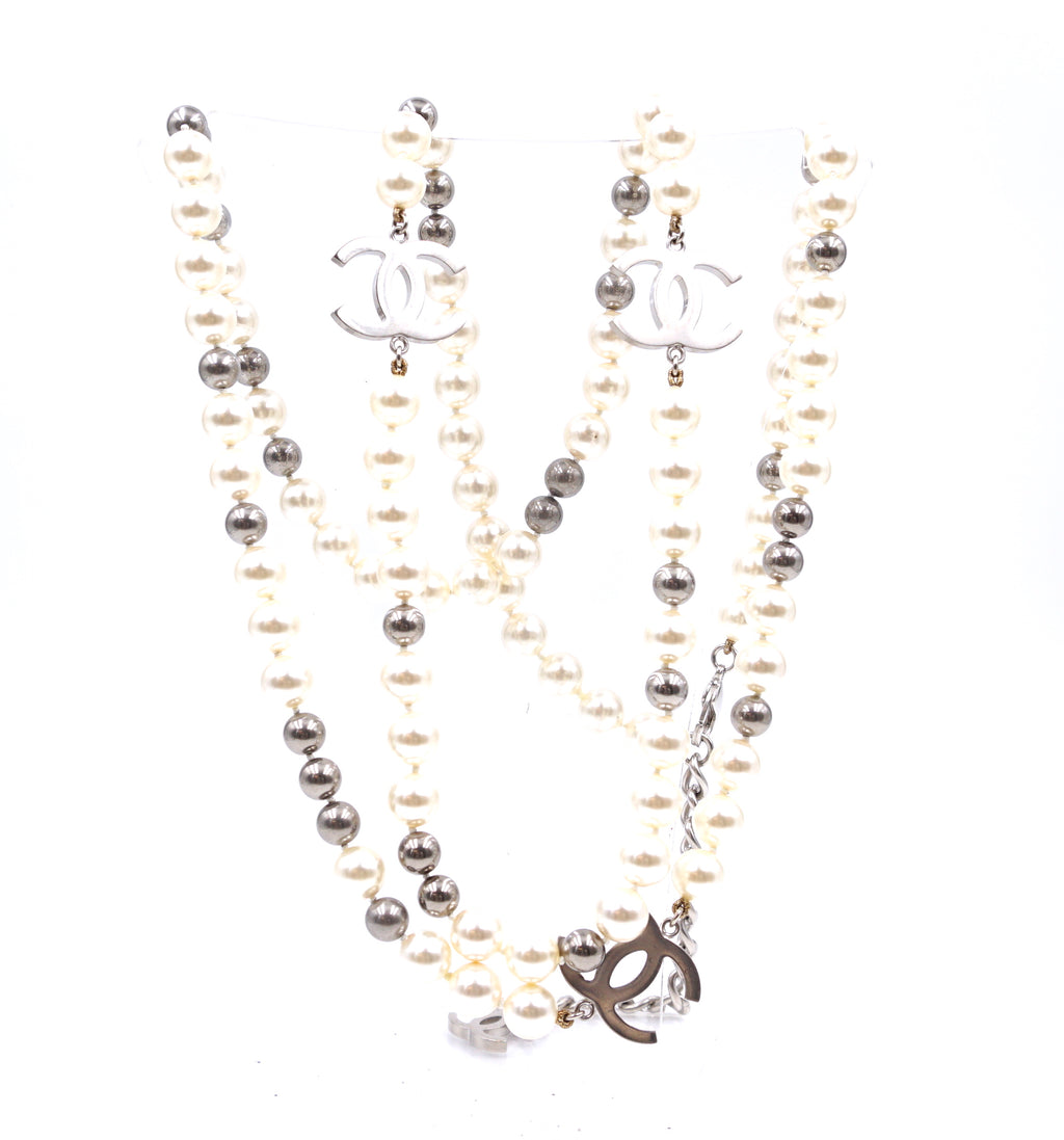 Chanel Silver CC Pearls Beads Double Strand Long Necklace