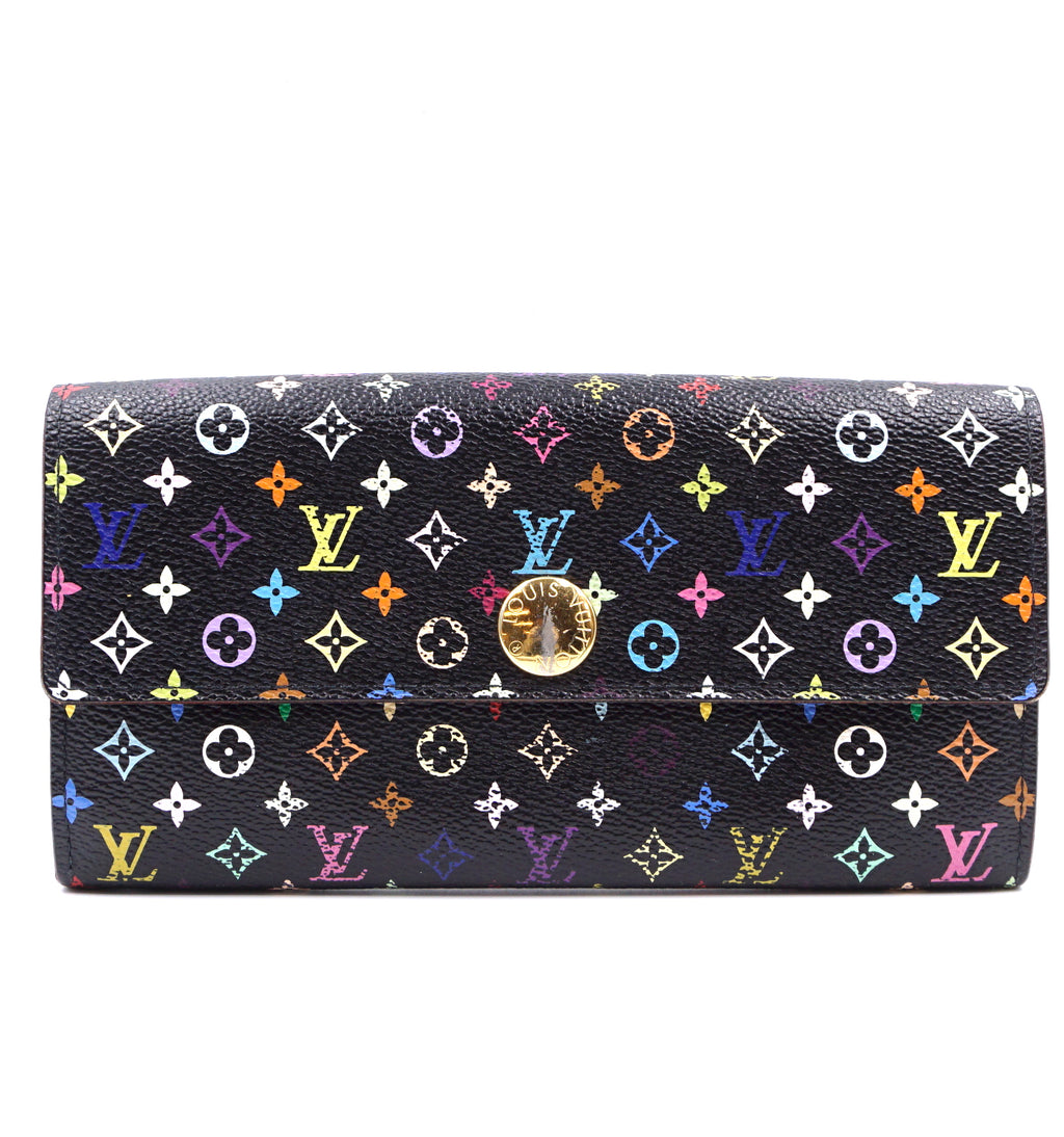 Louis Vuitton Black Monogram Multicolor Sarah Long Wallet