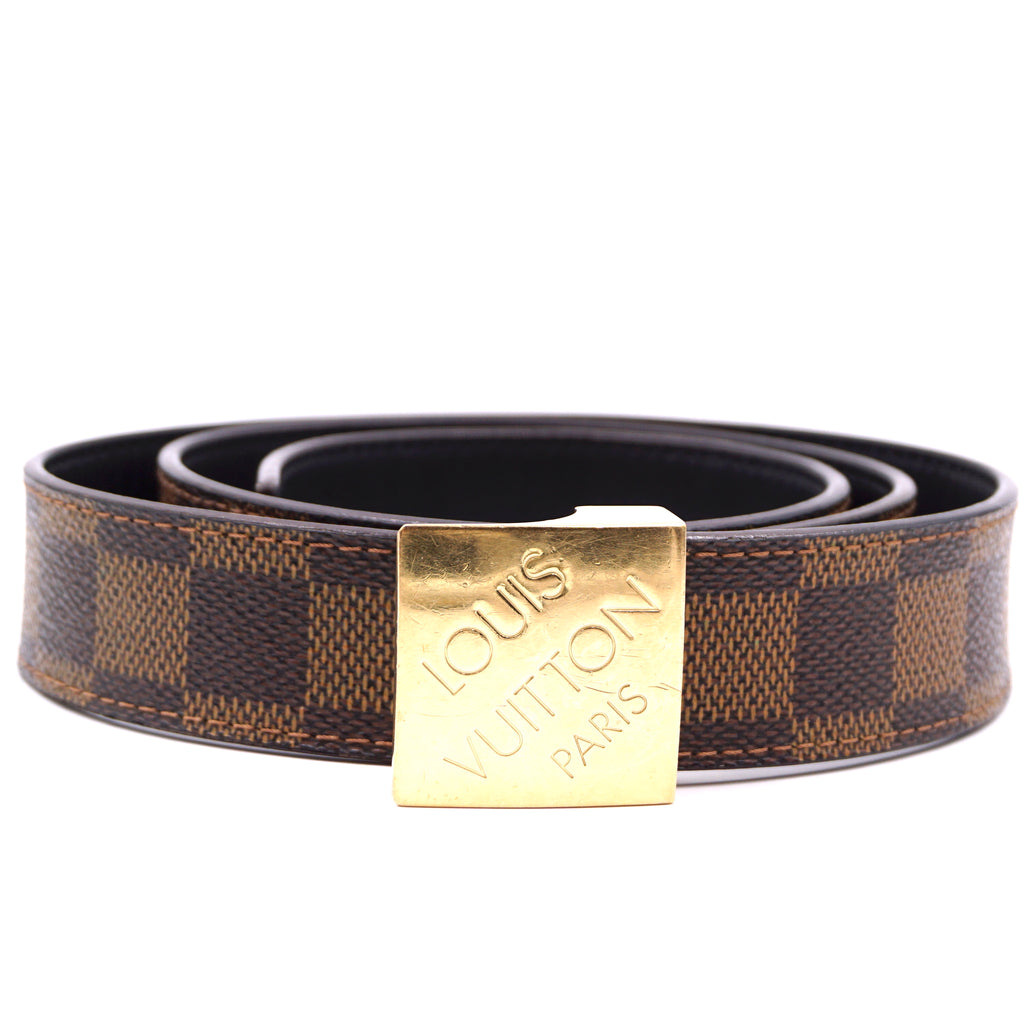 Louis Vuitton Damier Ebene Gold Buckle Leather Belt Size 85/34