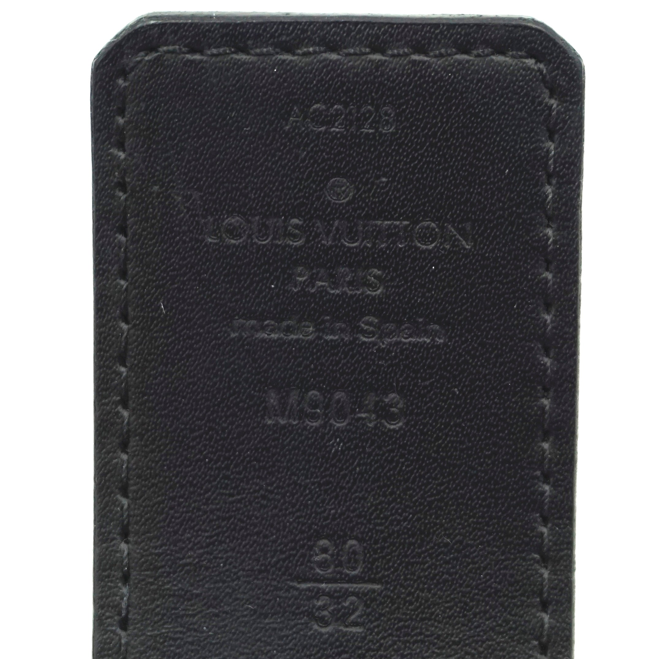 Louis Vuitton Damier Graphite 40mm LV Logo Silver Initials Belt Size 80/32