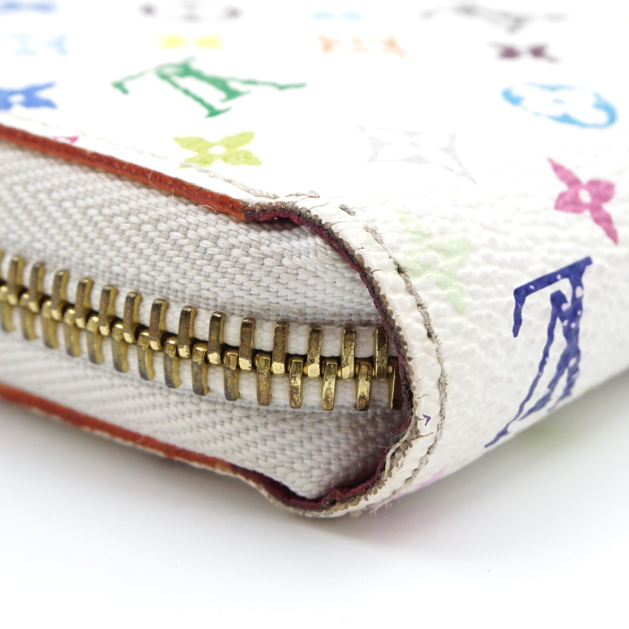 Louis Vuitton Long Zip Around White Multicolore Monogram Wallet