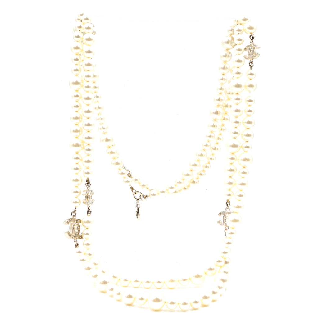 Chanel CC Pearls Crystals Gold Multi Double Strand Necklace