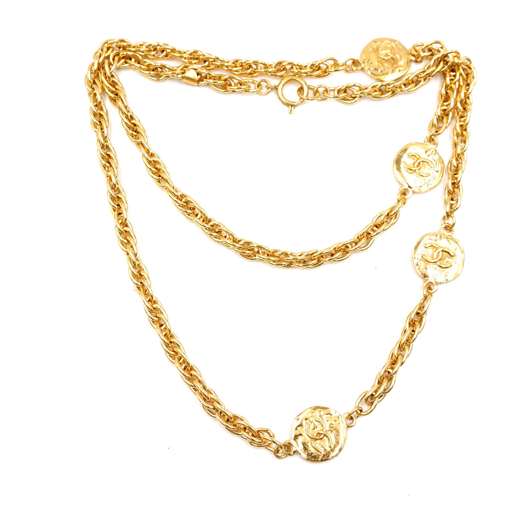 Chanel Gold 4 Medallion Motifs CC Charms Necklace