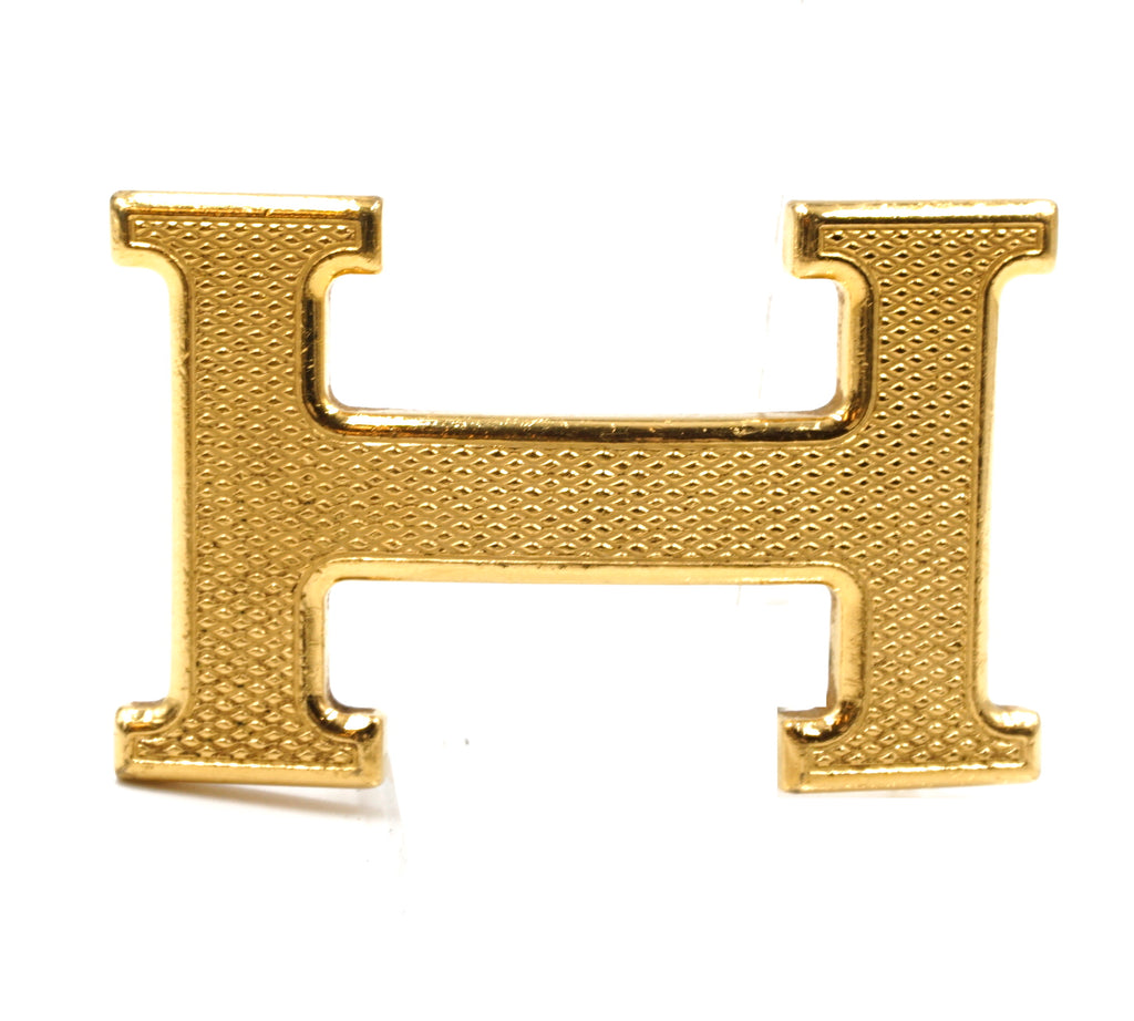 Hermès Gold 32mm Guilloche H Hardware Buckle