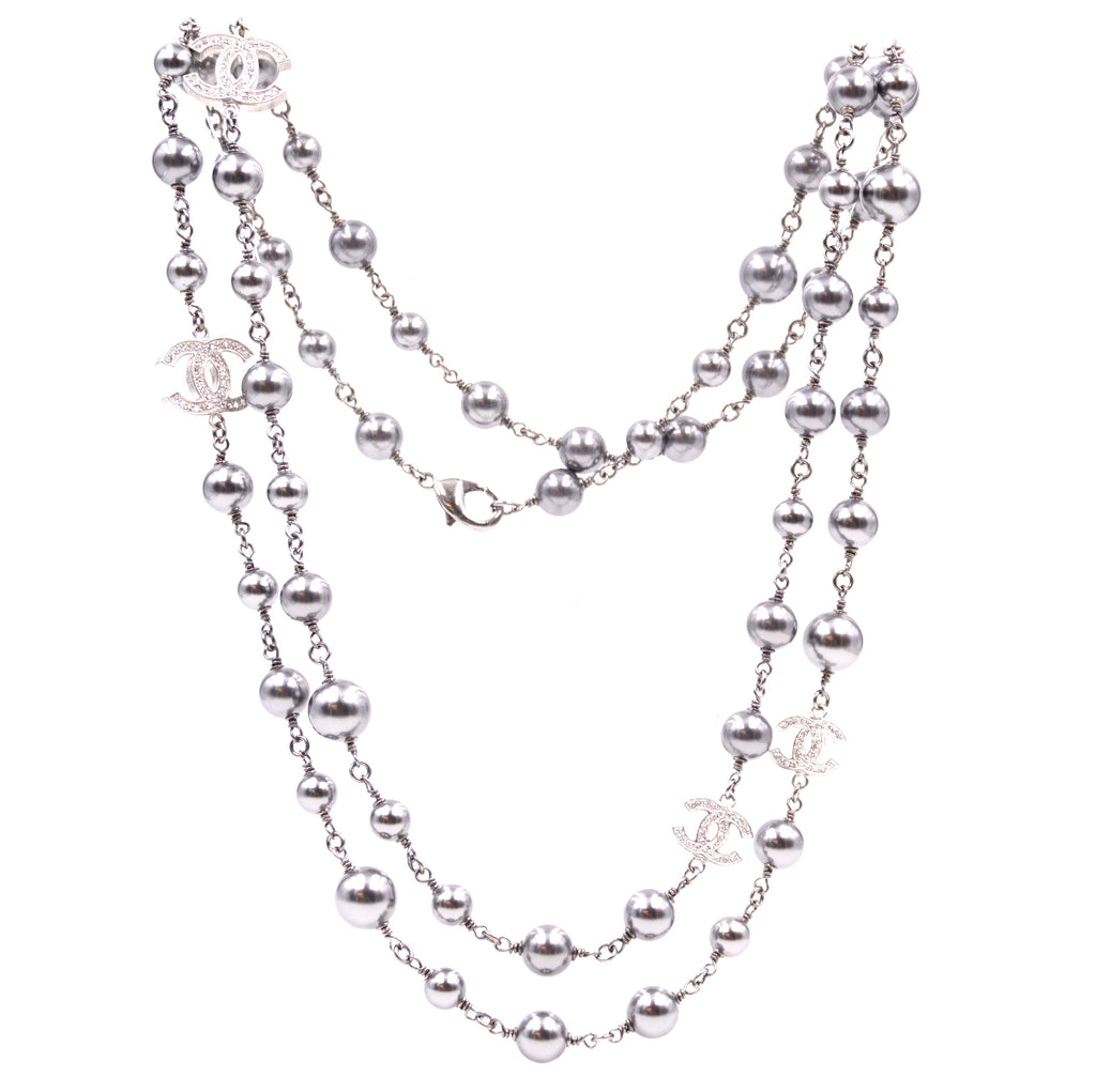 Chanel Silver Grey CC Crystals Pearls Double Strand Long Necklace