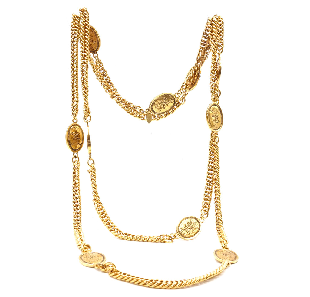 Chanel Gold 10 Motif CC Crown Oval Charms Long Necklace