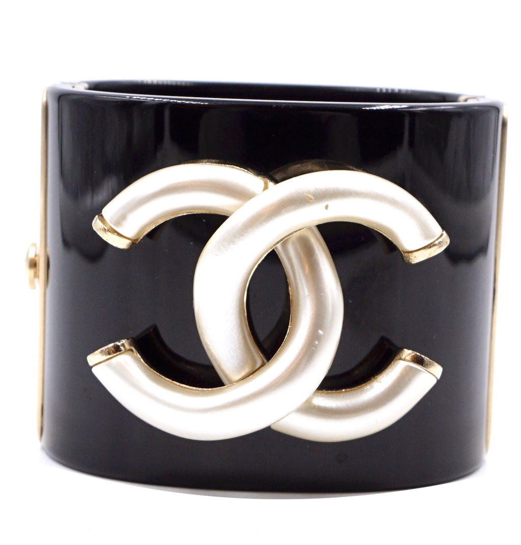 Chanel Black Extra Wide CC Cuff Bangle