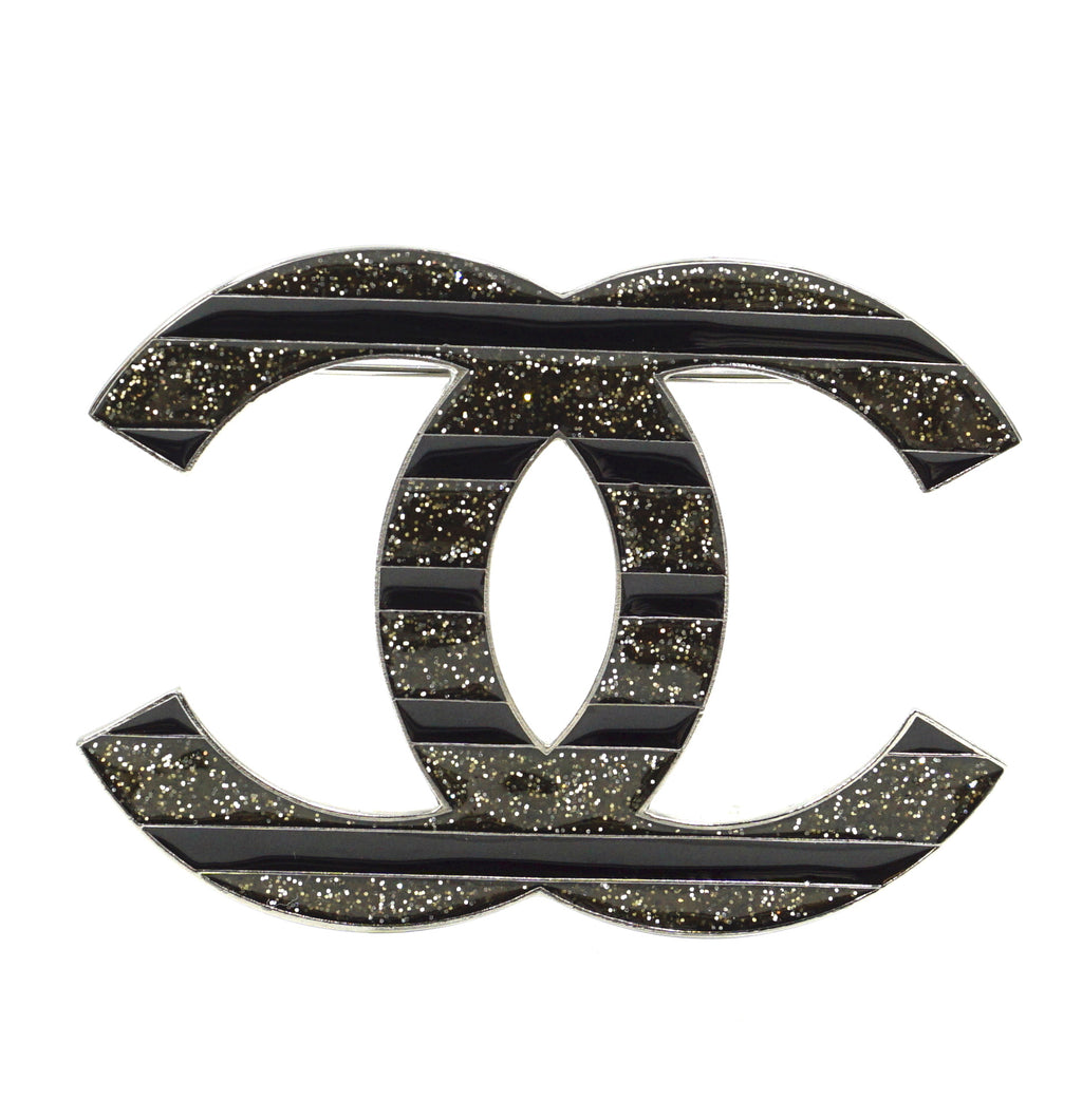 Chanel Silver Black CC Glitters Brooch